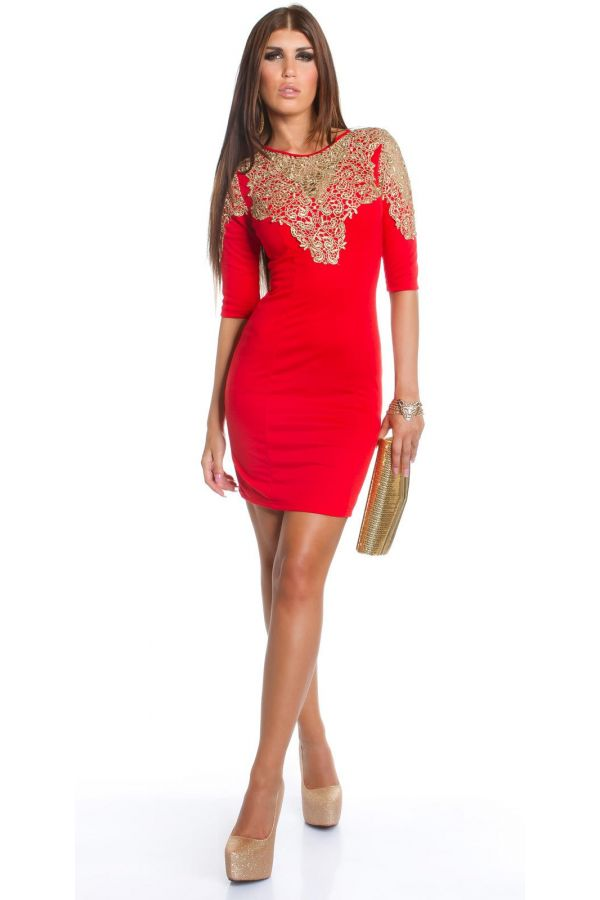 exclusive cocktail dress three quarters sleeves decorated with gold lace red