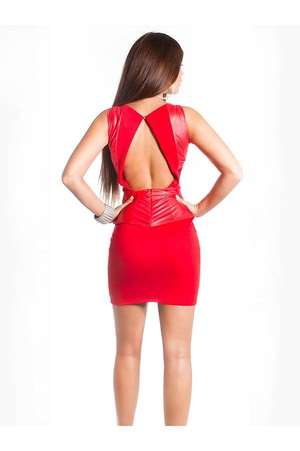 peplum coktail mini dress shiny panels open back red