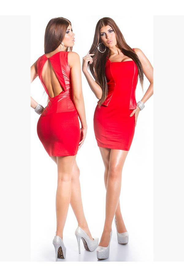 ISD505710 DRESS PEPLUM RED