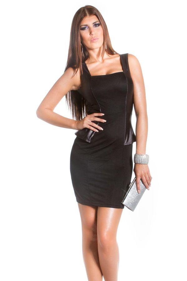 peplum coktail dress shiny panels sexy back black