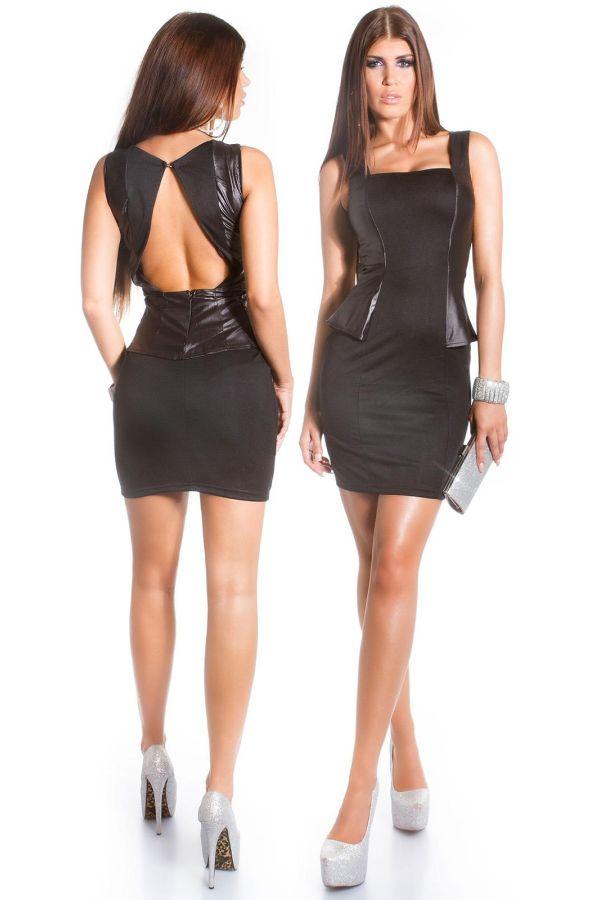 ISD505710 DRESS PEPLUM BLACK
