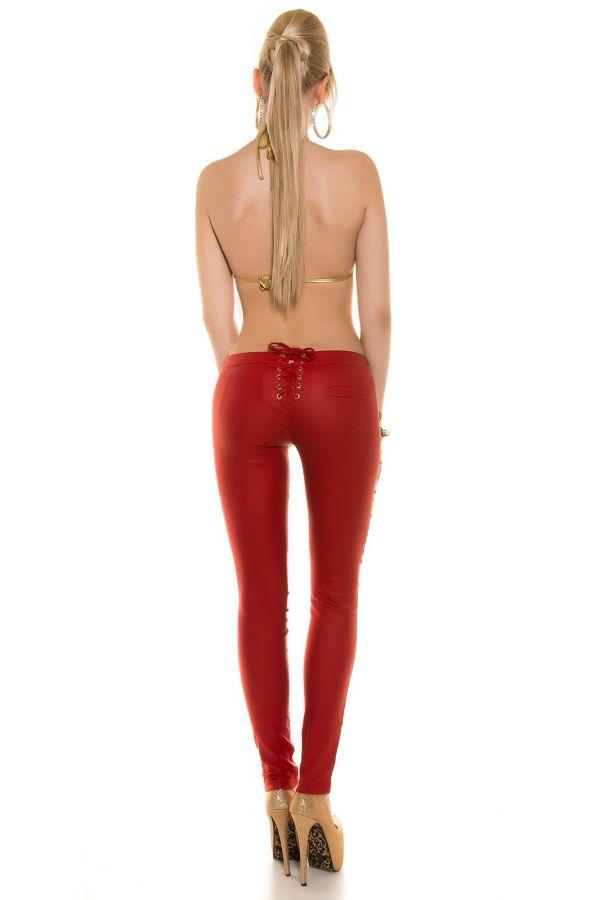 κόκκινο παντελόνι χρυσαφί καρφιά σέξι.