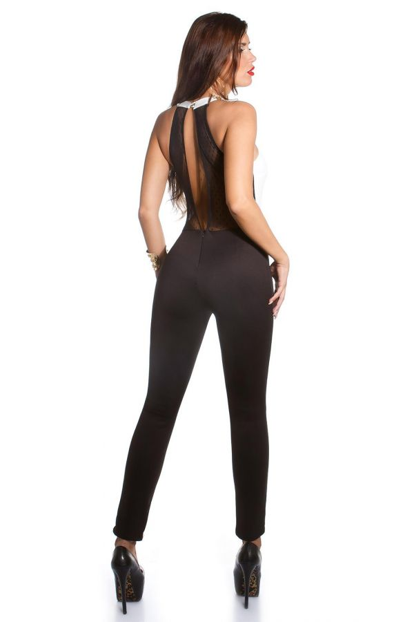 sexy jumpsuit with lace back decorated with golden buckle black white