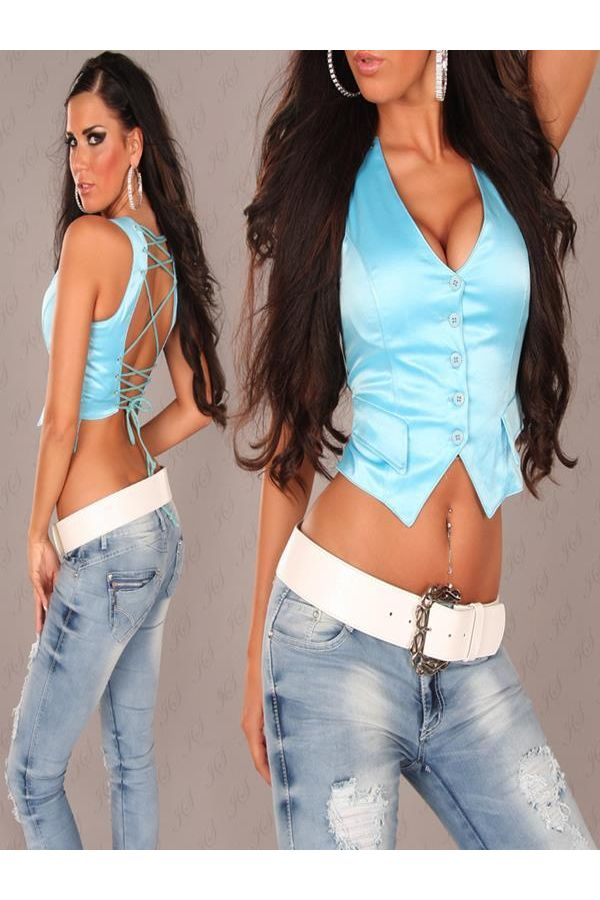 ISDE335118 VEST SHORT TURQUOISE