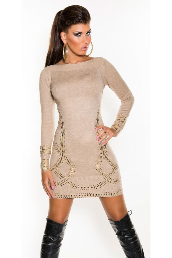 ISDF07180 DRESS KNITTED CAPPUCCINO