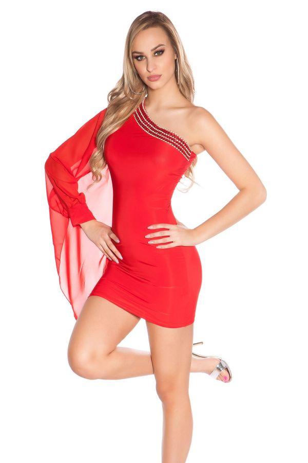 ISDF151857 DRESS ASYMMETRIC RED