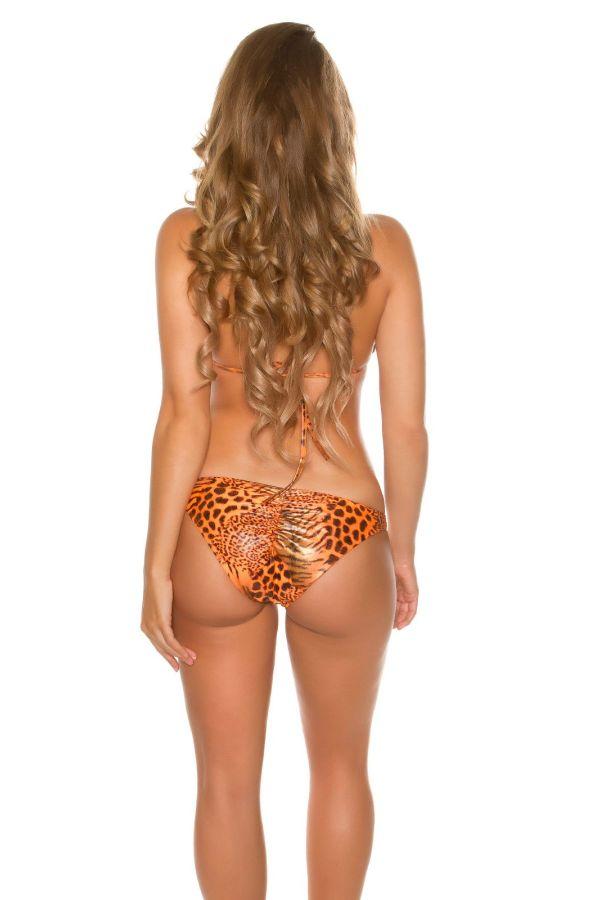sexy bikini swimwear with gold chains leopard coral