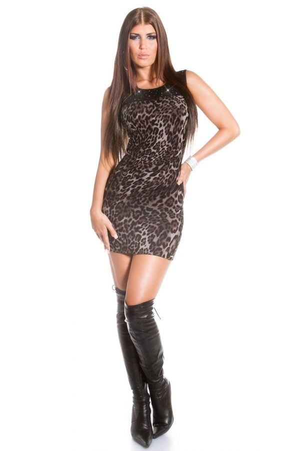 ISDF827211 DRESS KNITTED LEOPARD