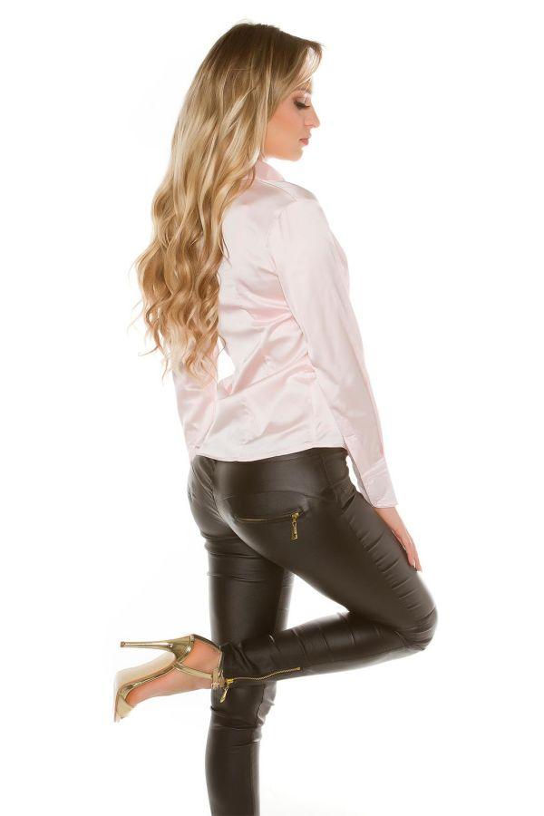 κομψό σατέν πουκάμισο με μακριά μανίκια και κουμπιά ροζ