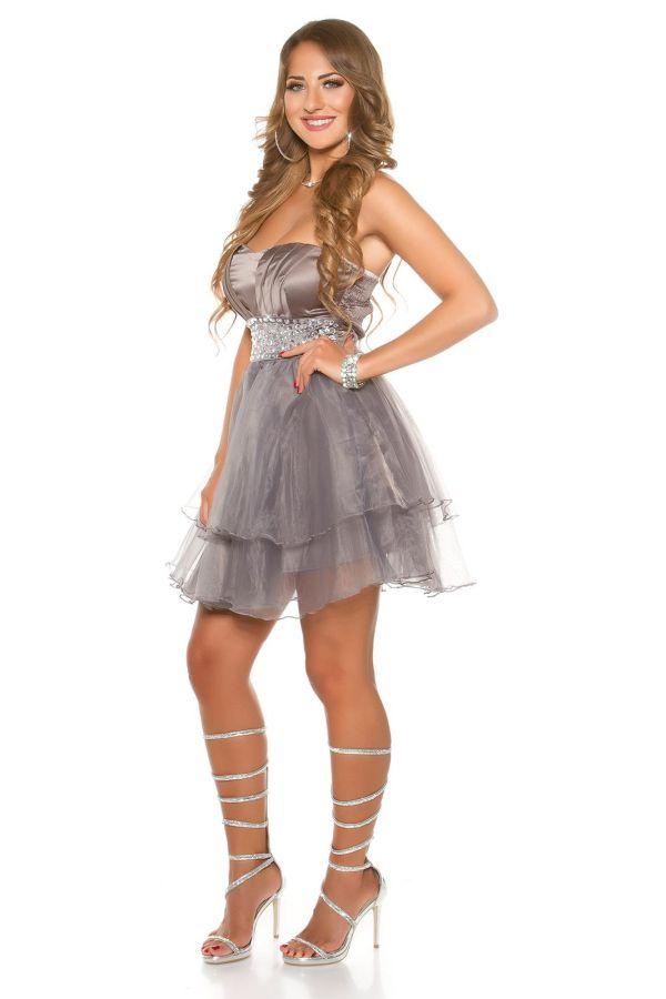 φόρεμα βραδινό αμπιγιέ στράπλες στρας γκρι ανθρακί.