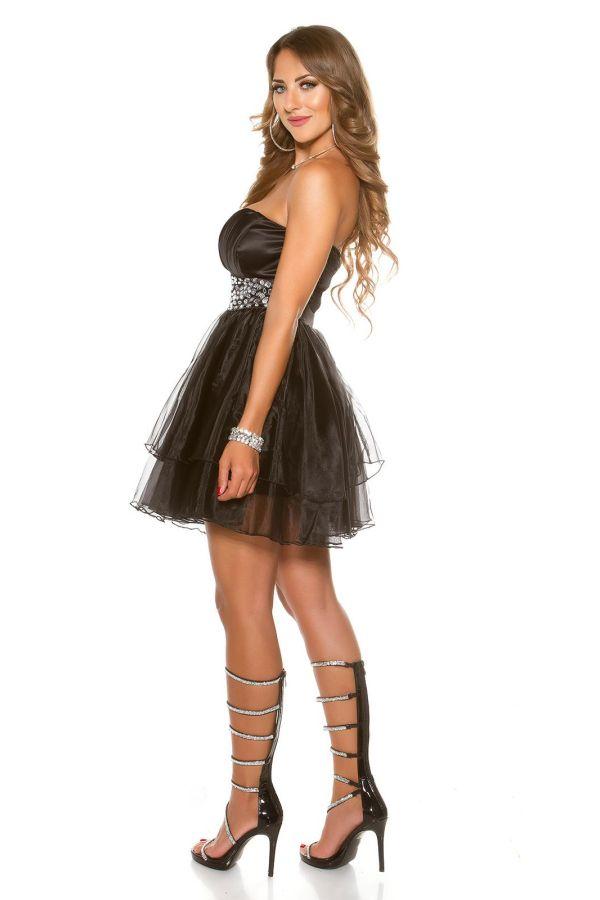 φόρεμα βραδινό αμπιγιέ στράπλες στρας μαύρο