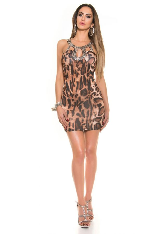 ISDK3581531 DRESS COCKTAIL RHINESTONES LEOPARD