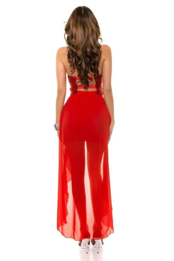 εντυπωσιακό βραδινό αμπιγιέ στράπλες φόρεμα ασύμμετρη διαφάνεια διακοσμημένες παγιέτες ανοιχτή πλάτη κόκκινο