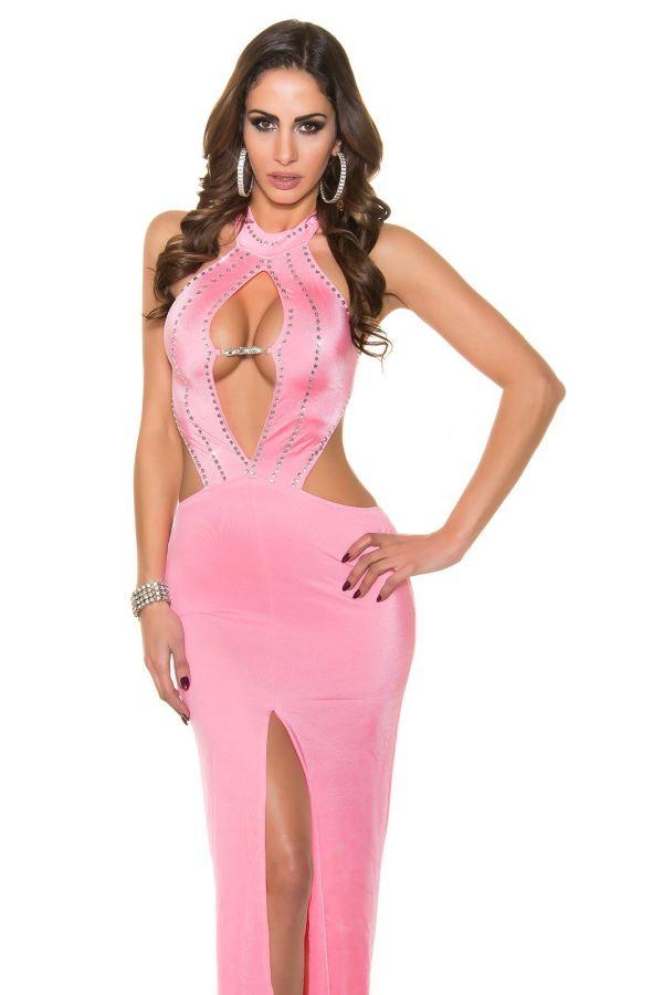 σέξι μάξι μακρύ βραδινό ροζ φόρεμα διακοσμημένο στρας ανοιχτή πλάτη