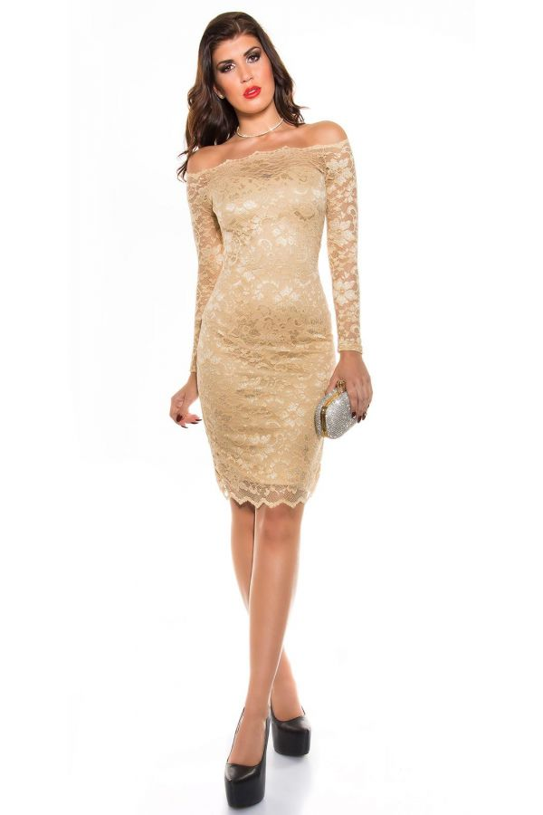 ISDK911414 DRESS MIDI COCKTAIL LACE CHAMPAGNE