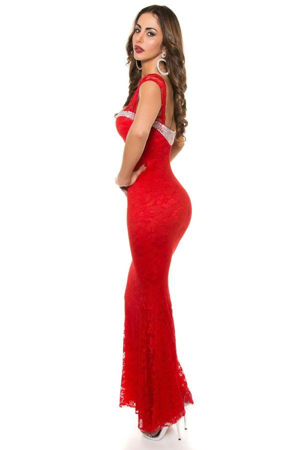 βραδινό κόκκινο μάξι-μακρύ αμάνικο φόρεμα δαντέλα ασημί διακόσμηση στρας εντυπωσιακό
