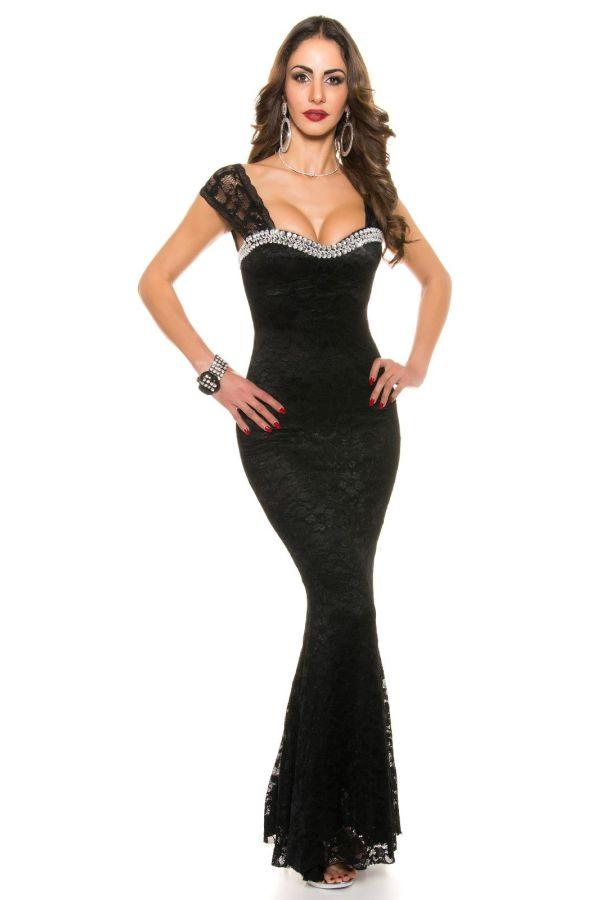 βραδινό μαύρο μάξι-μακρύ αμάνικο φόρεμα δαντέλα ασημί διακόσμηση στρας εντυπωσιακό