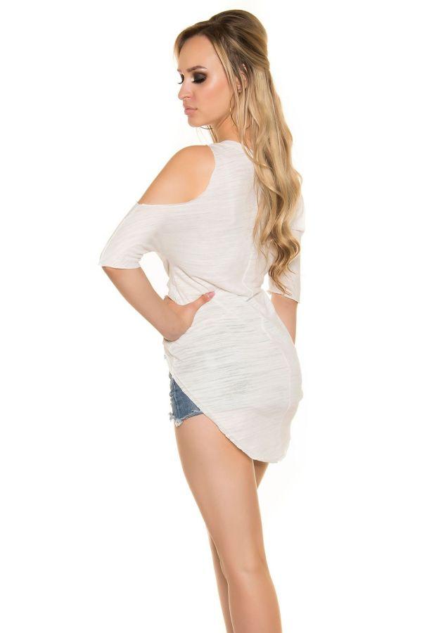 μπλούζα σταυρωτή μπροστά και μακριά πίσω άσπρη
