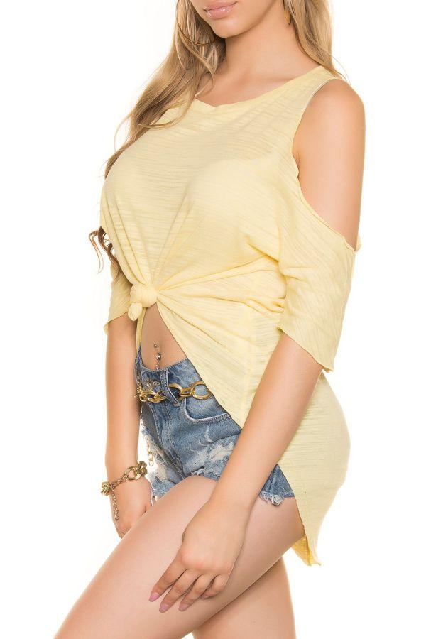 μπλούζα σταυρωτή μπροστά και μακριά πίσω κίτρινη