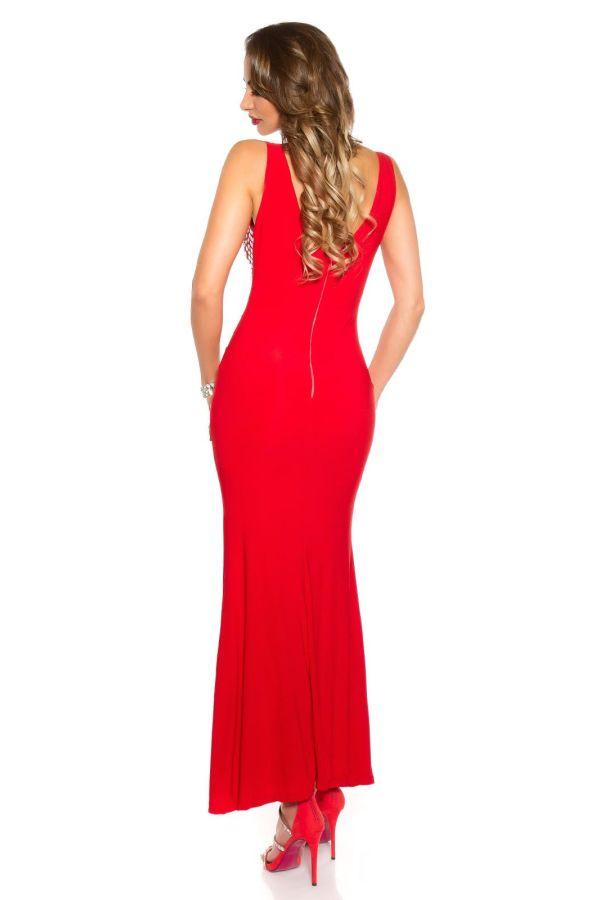 κόκκινο φόρεμα μακρύ μάξι αμάνικο μπροστινό σκίσιμο διακοσμημένο λαμπερές πέτρες