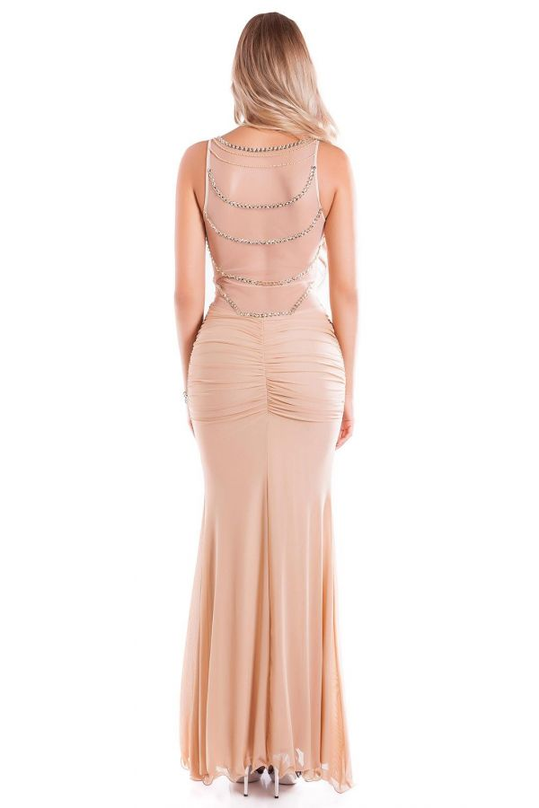 DRESS FORMAL MAXI LONG TRANSPARENCY BEIGE ISDK94714