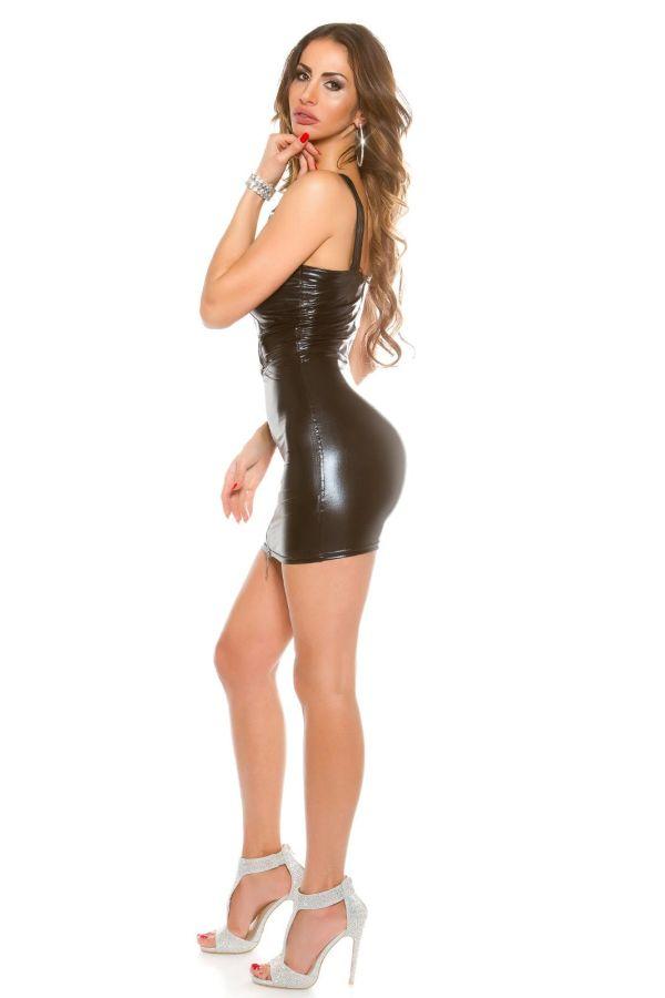 σούπερ σέξι gogo wet look φόρεμα με φερμουάρ και αγκράφα μαύρο