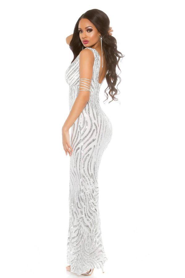 μακρύ μάξι άσπρο φόρεμα αμάνικο καλυμμένο ασημί παγιέτες