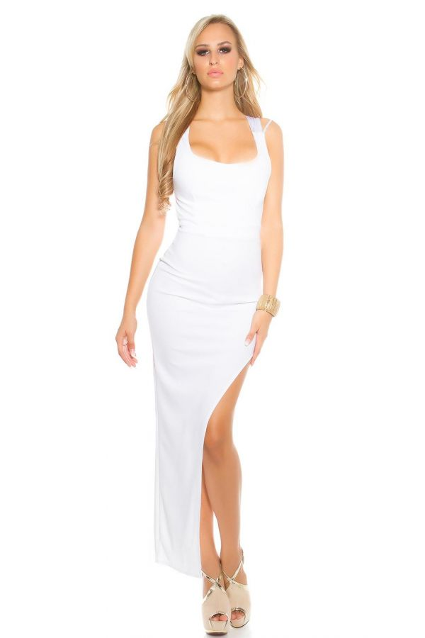 sexy asymmetric dress with a straps back and side zipper at side white