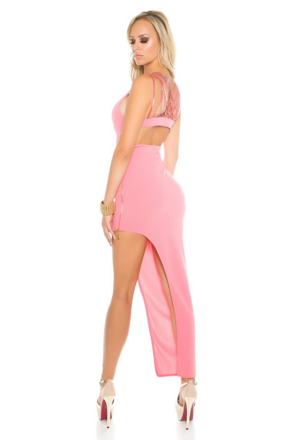 sexy asymmetric dress with a straps back and side zipper at side salmon