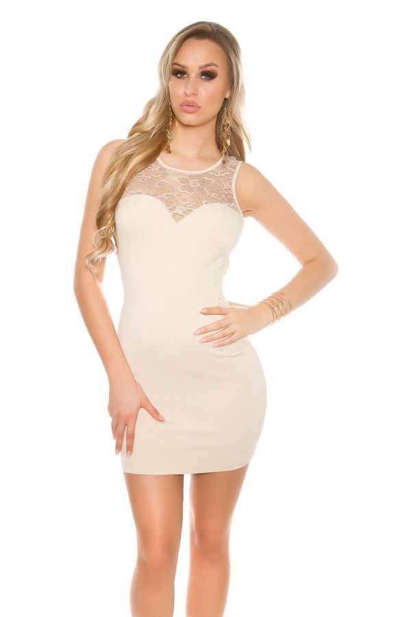 mini sleeveless cocktail dress with transparent lace on neckline and all back beige