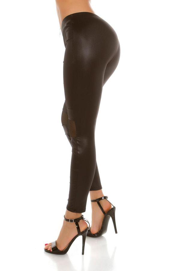 εντυπωσιακό εφαρμοστό wet look σέξι κολάν με δίχτυ διαφάνεια μαύρο