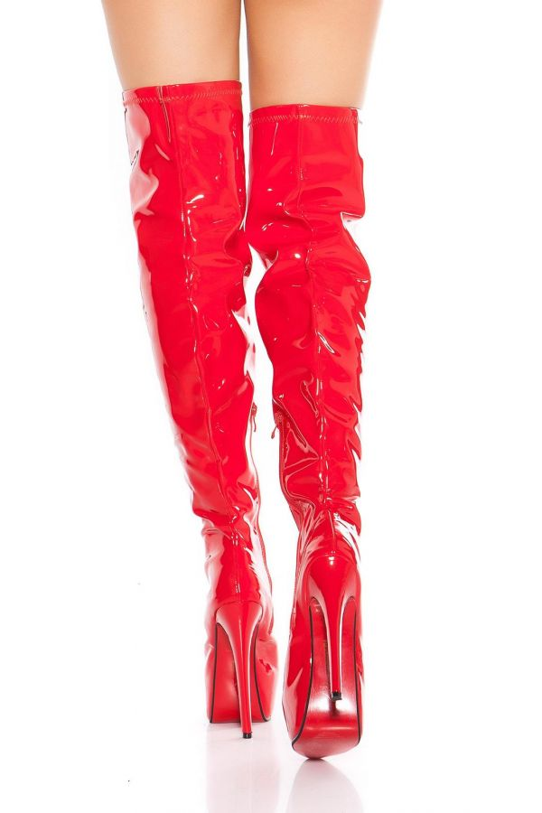 ISDM6202 BOOTS OVERKNEES PATENT RED