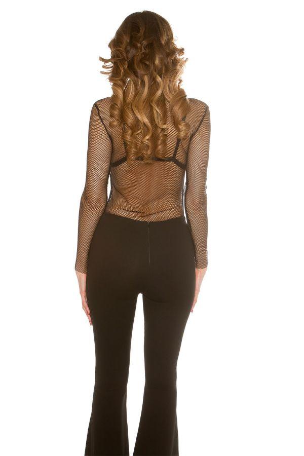 γυναικεία διχτυωτή μπλούζα με μακριά μανίκια μαύρη