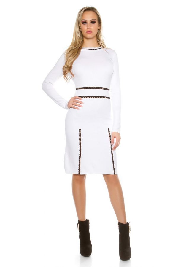 ISDN869728 DRESS KNITTED WHITE