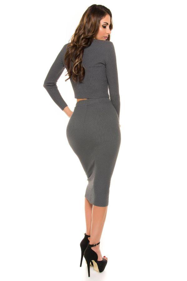 εξαιρετική σικάτη midi πλεκτή φούστα γκρι ανθρακί