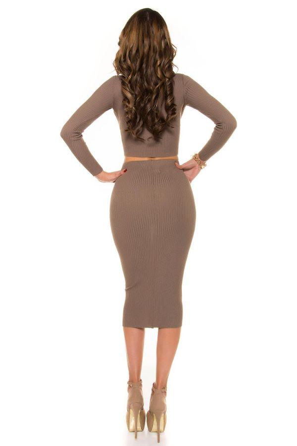 εξαιρετική σικάτη midi πλεκτή φούστα καπουτσίνο