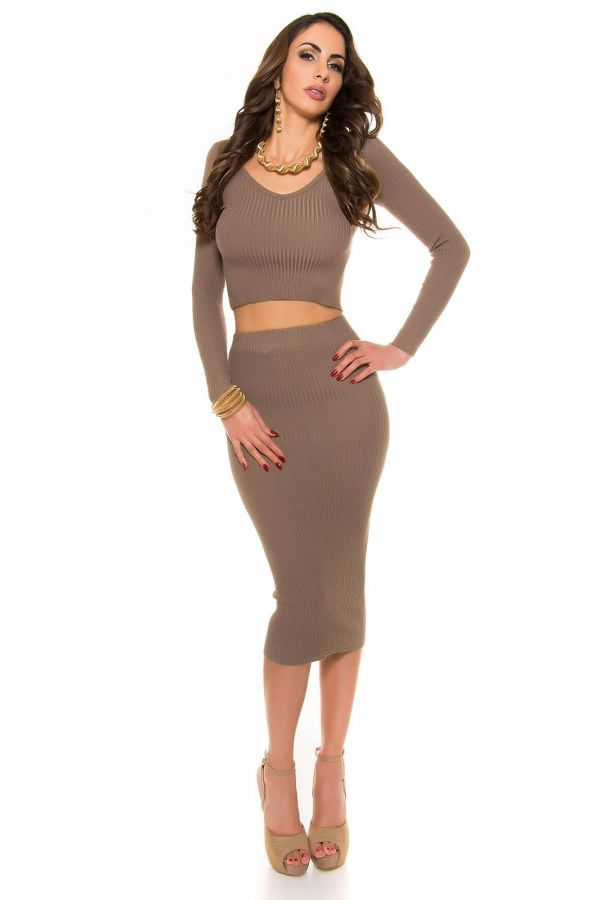 ISDP934243 SKIRT KNITTED CAPPUCCINO