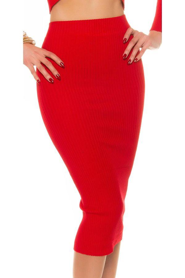 εξαιρετική σικάτη midi πλεκτή φούστα κόκκινη