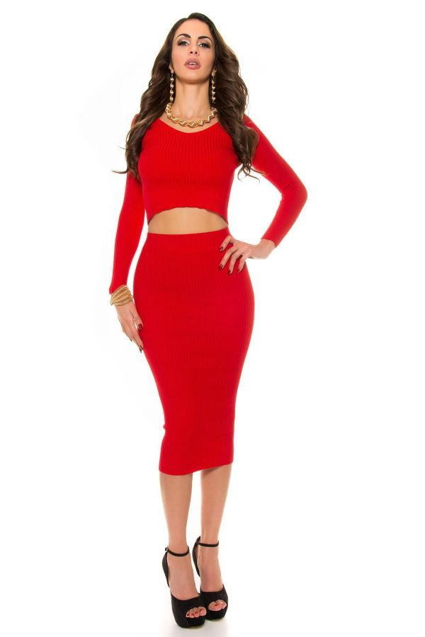 ISDP934243 SKIRT KNITTED RED