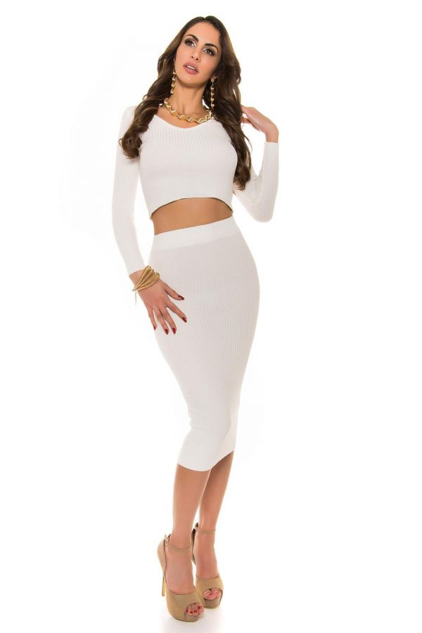 ISDP934243 SKIRT KNITTED CREAM