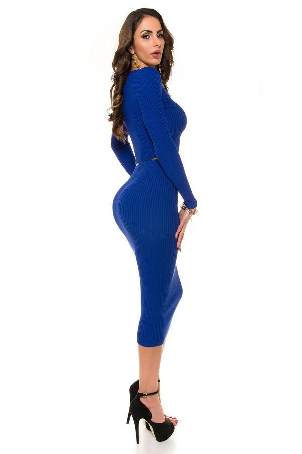 εξαιρετική σικάτη midi πλεκτή φούστα royal μπλε