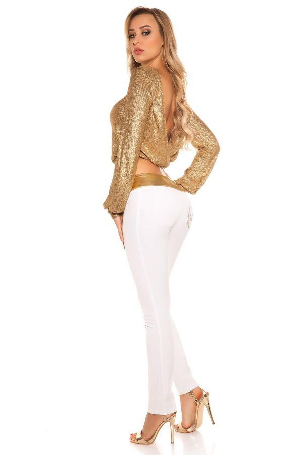 άσπρο παντελόνι wet look χρυσό ζωνάρι σέξι.