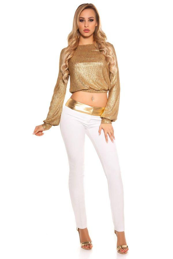 παντελόνι wet look χρυσό ζωνάρι άσπρο.