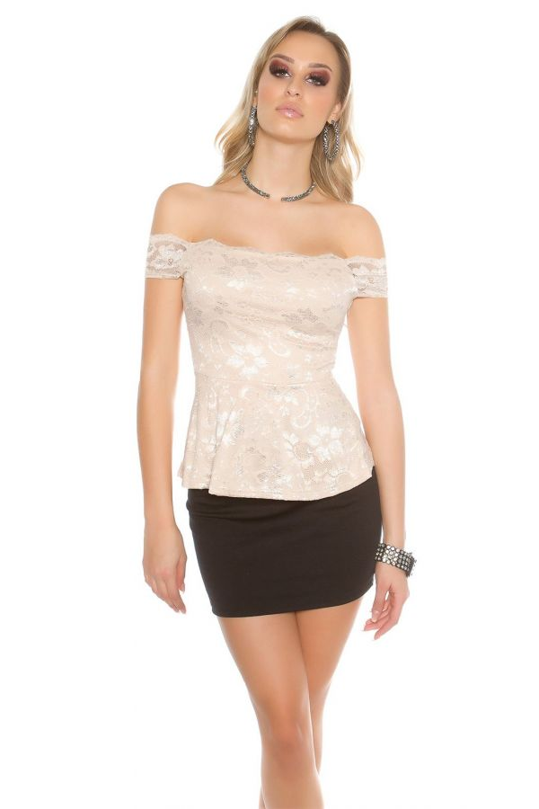 latina peplum lace top with short sleeves beige