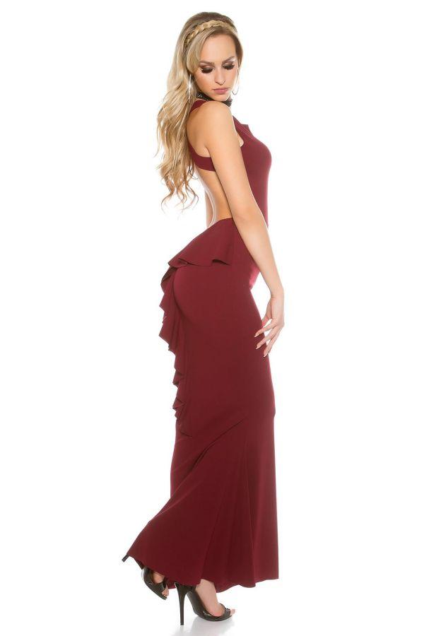 κομψό αμάνικο γοργονέ μάξι φόρεμα με σέξι πλάτη μπορντό