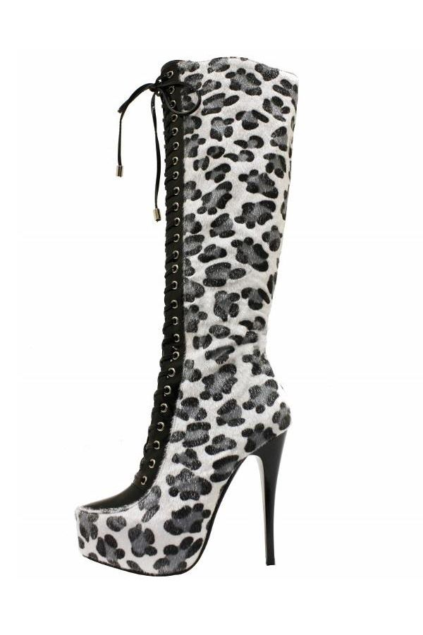 high heels suede boot with cords black white