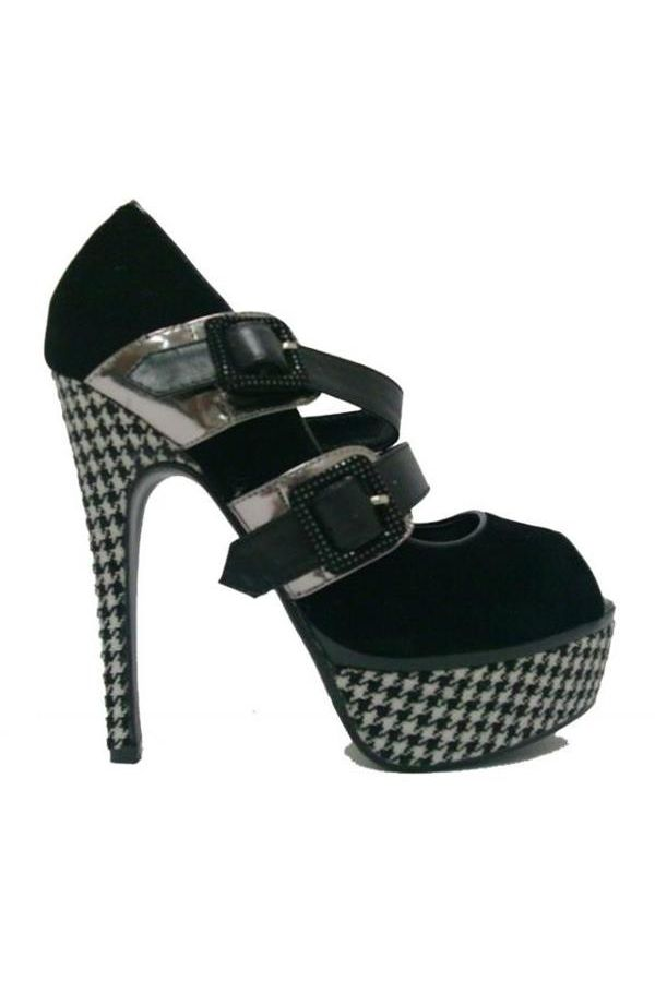 J754 PEEP TOE BLACK WHITE