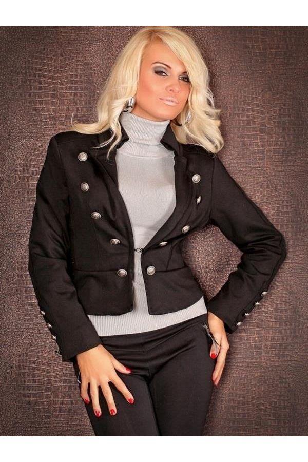 γυναικείο σακάκι διακοσμημένο με ασημί μεταλλικά κουμπιά μαύρο