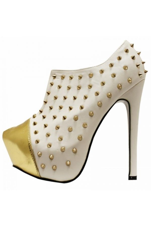 high heels low ankle boot decorated with metallic golden studs white