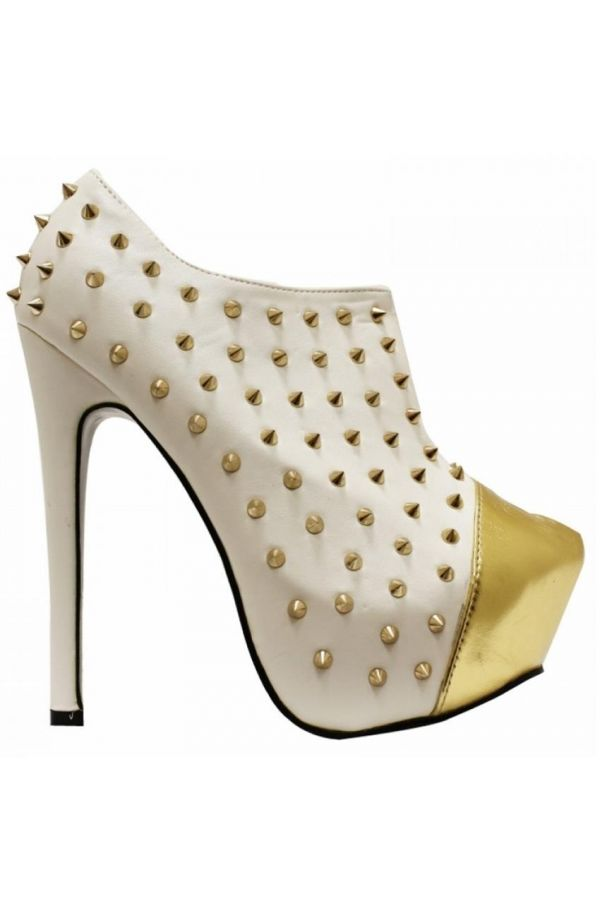 JD021 ANKLE BOOT GOLD STUDS WHITE